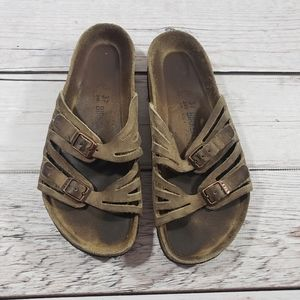Birkenstock womens brown slide on sandals 37